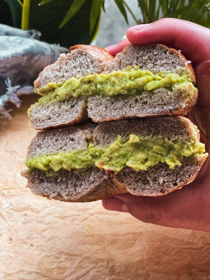 Homemade bagel with avocado
