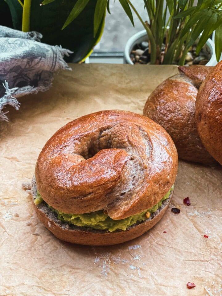 Homemade vegan bagel