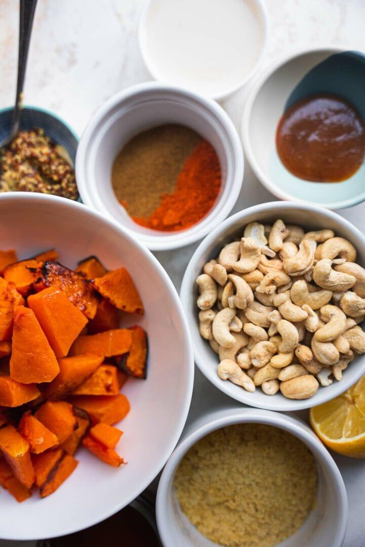 Ingredients for pumpkin pasta