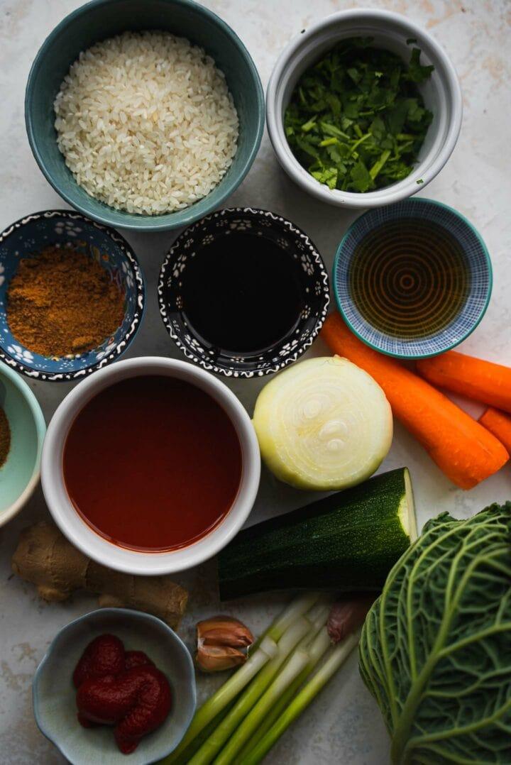 Ingredients for vegan cabbage rolls