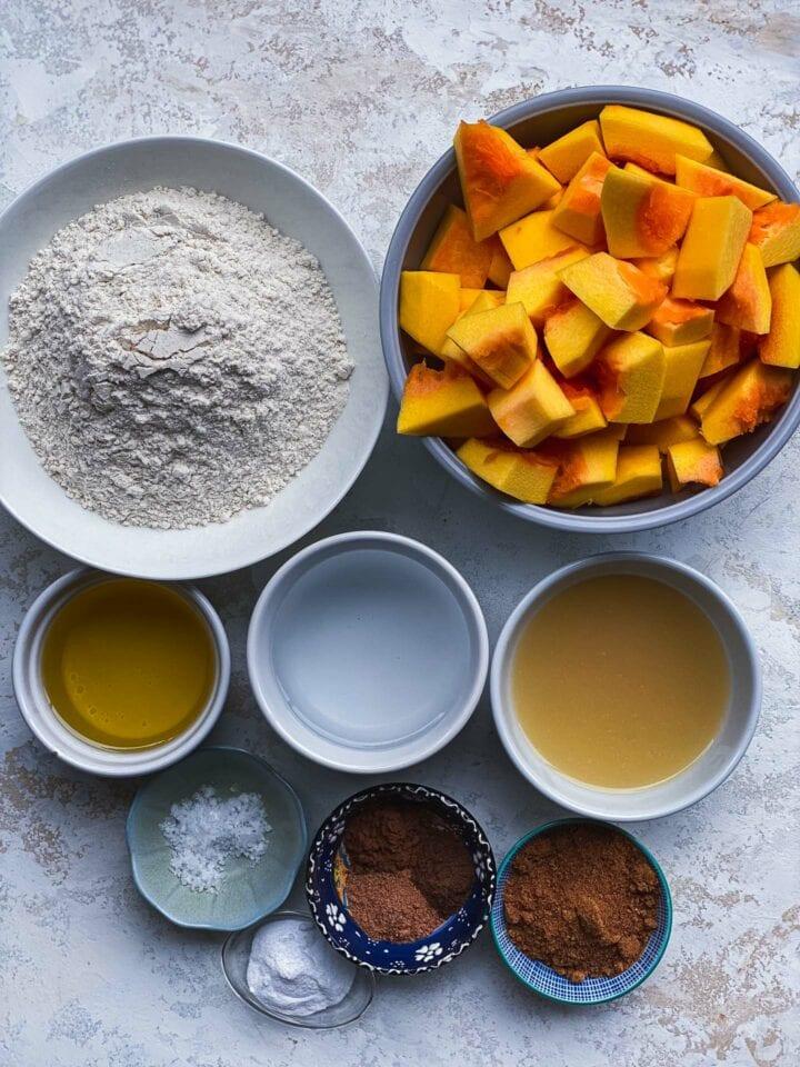 Ingredients for vegan pumpkin bread