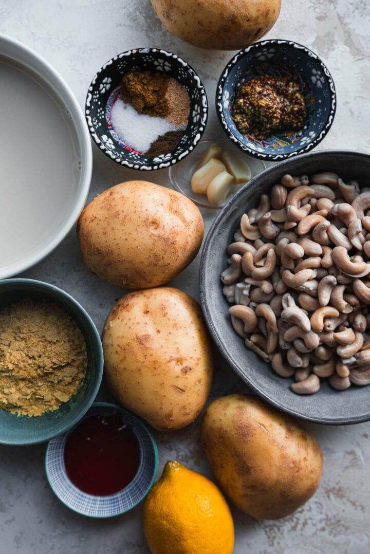 Ingredients for vegan scalloped potatoes