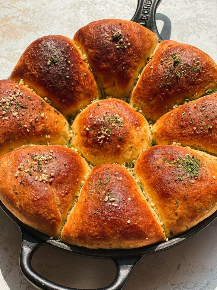 Olive oil bread in a skillet