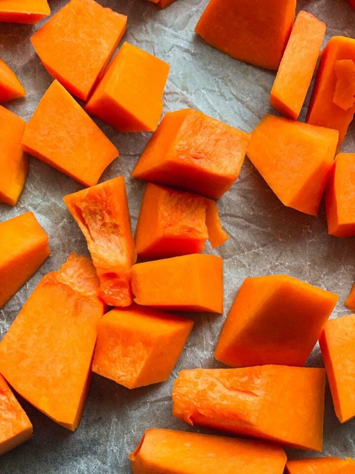 Pumpkin on a baking tray