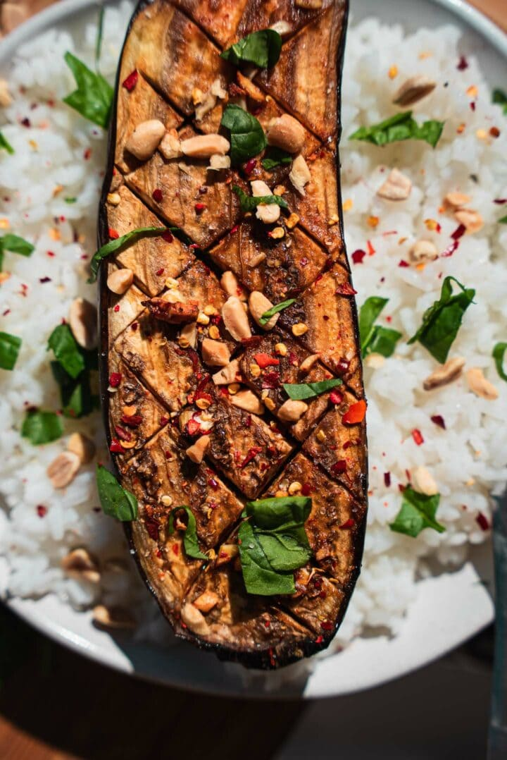 Roasted aubergine with garlic and rice