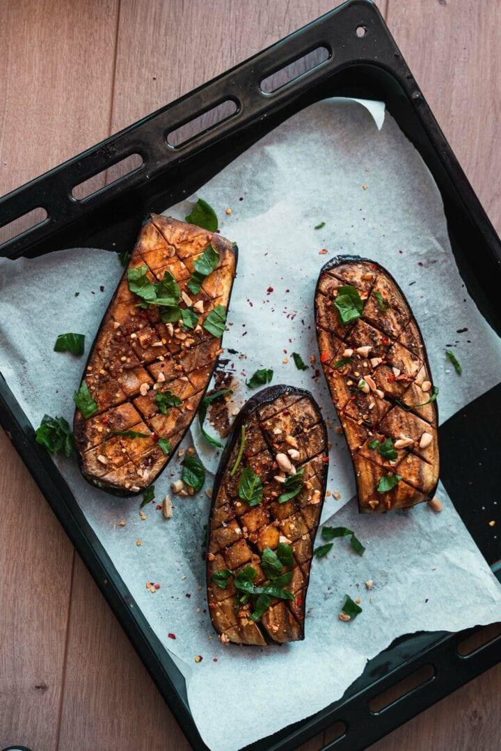 Roasted eggplant on a baking tray