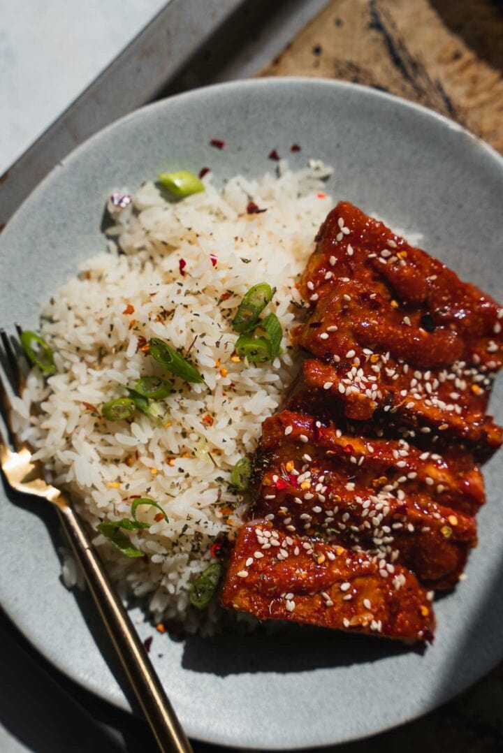 Spicy tempeh with rice