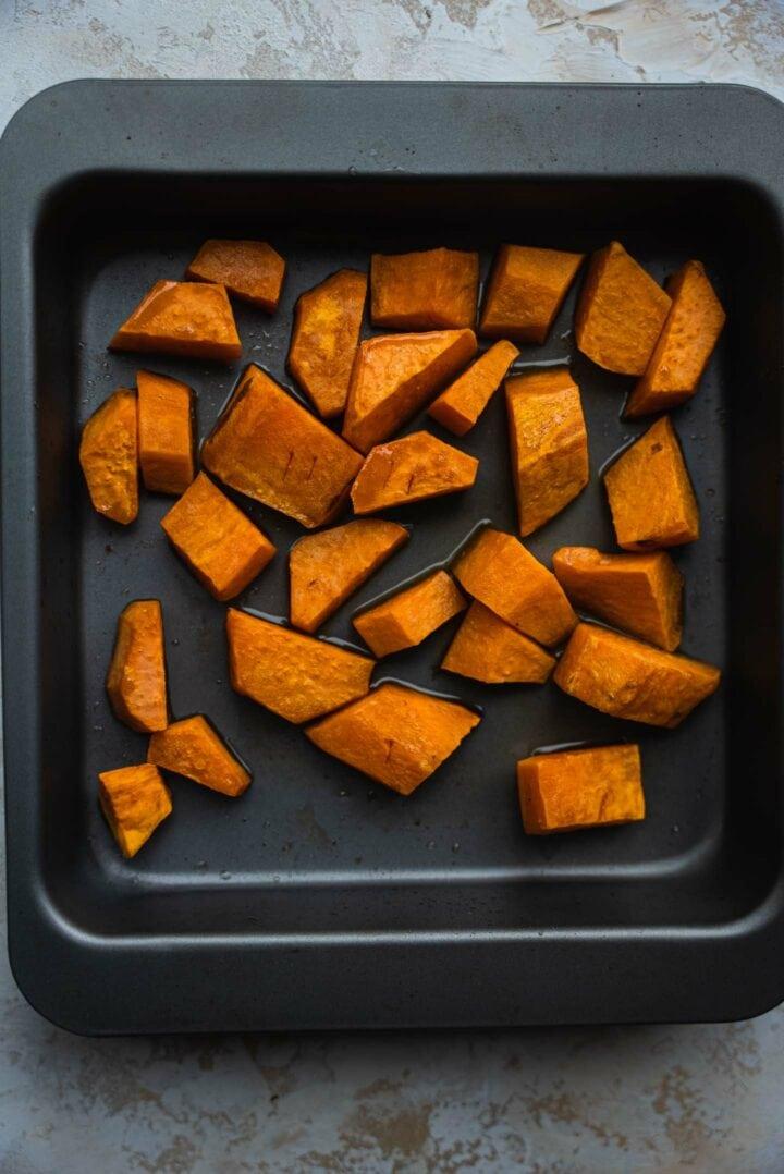Sweet potato on a baking tray