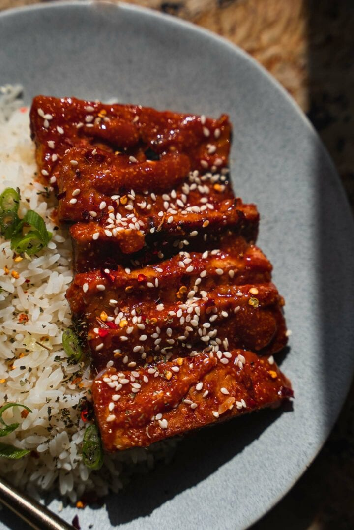 Tempeh ribs with rice