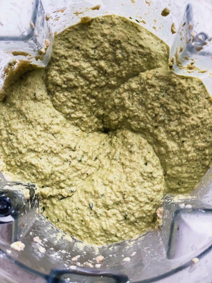 Vegan cheese mixture in a blender