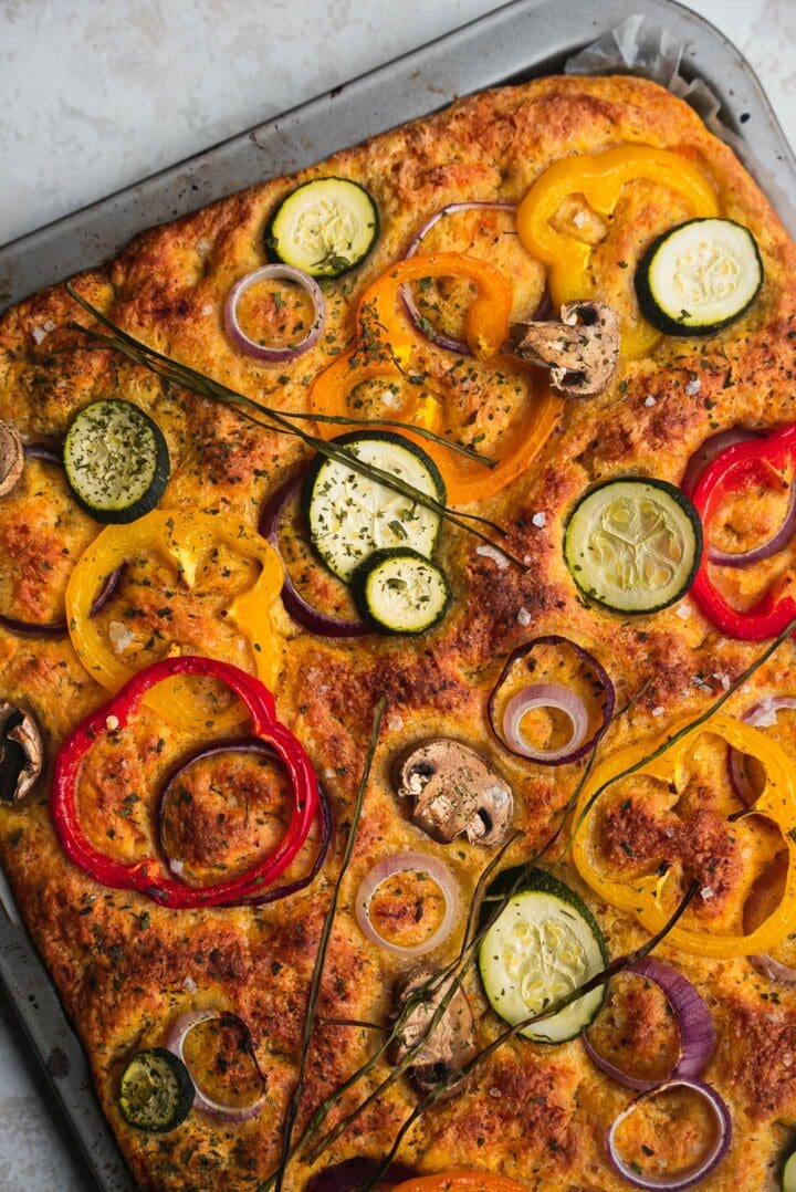 Vegan focaccia with pumpkin and vegetables