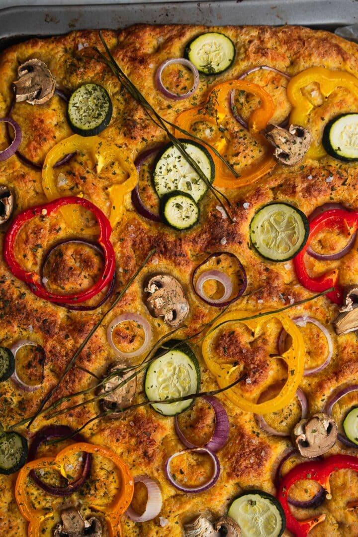 Vegan focaccia with vegetables
