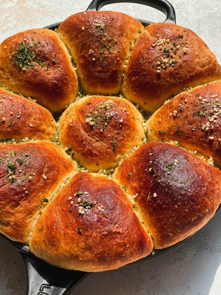 Vegan olive oil bread in a skillet