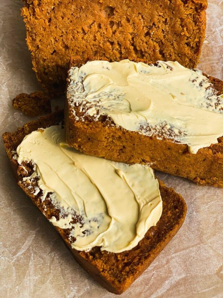Vegan pumpkin bread with butter