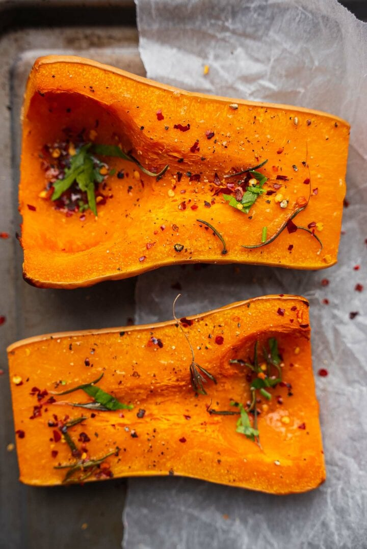 Baked butternut squash with rosemary