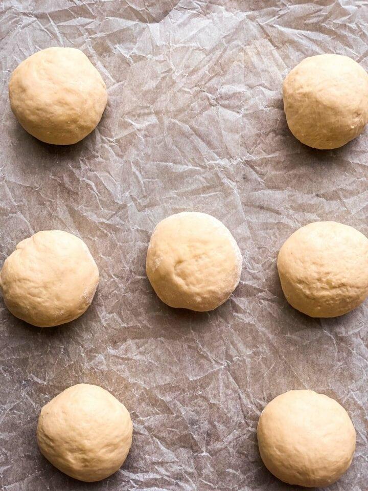 Bread rolls before baking