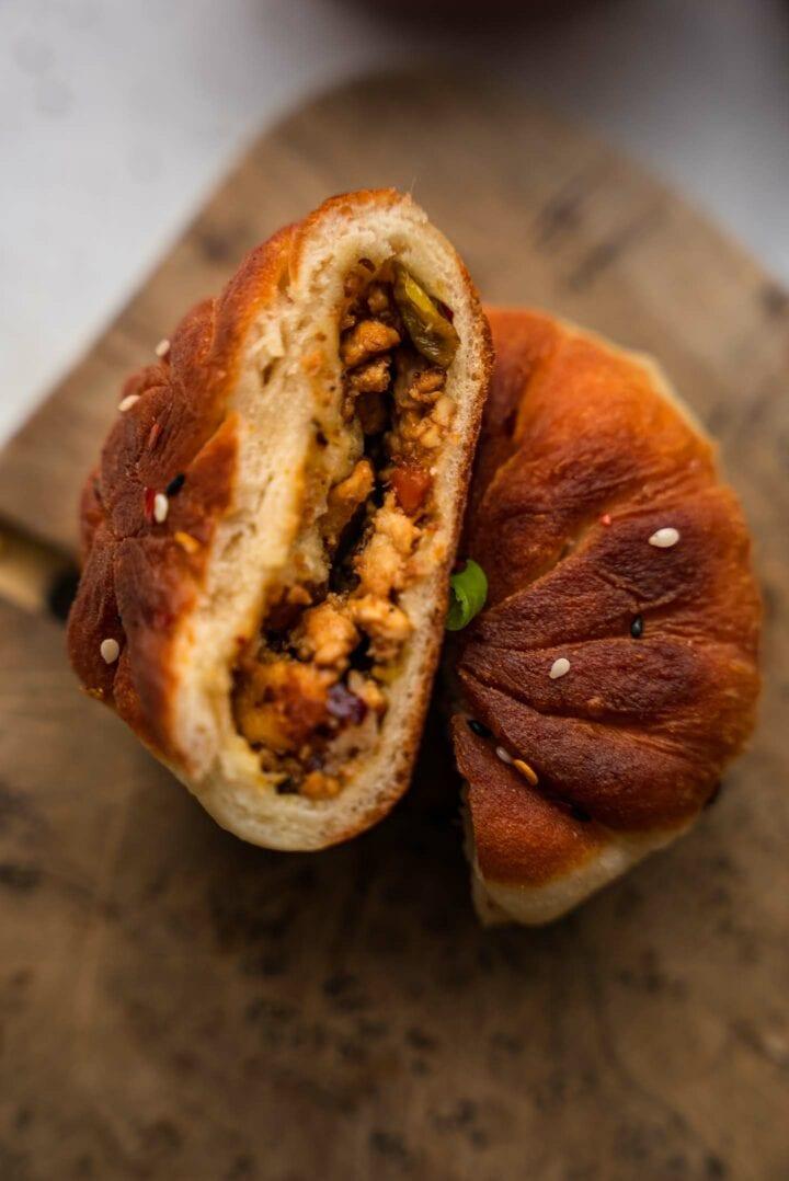 Crispy vegan bun with a tofu filling