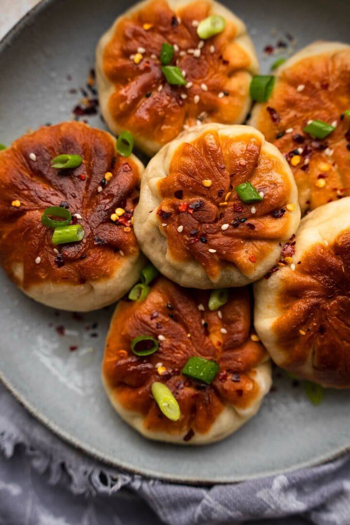 Crispy vegan buns on a plate