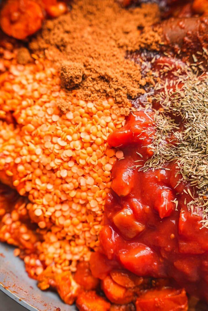 Lentil sauce ingredients in a frying pan
