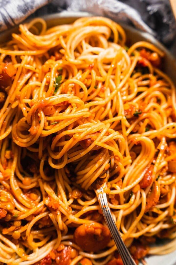 Pasta with a vegan lentil sauce