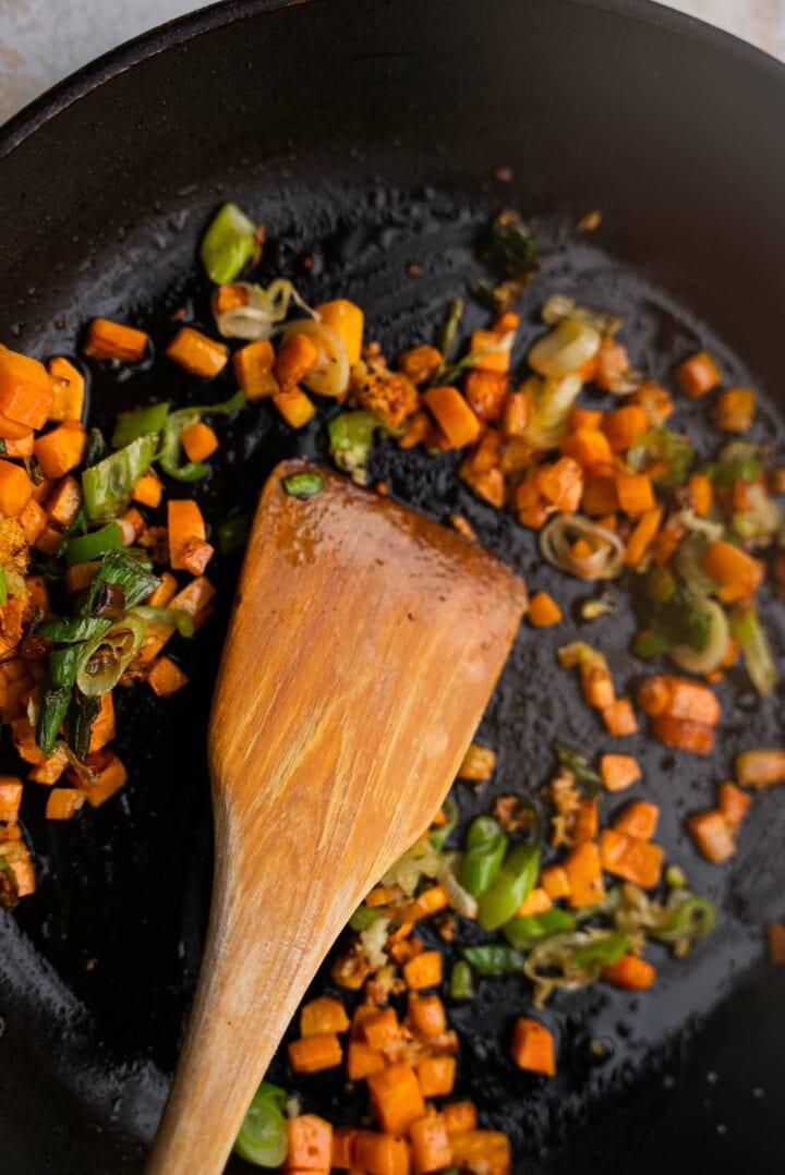 Vegetables in a skillet